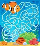 Labyrinthe 18 avec le thème de poissons Image stock