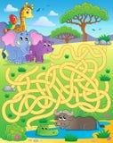 Labyrinthe 16 avec les animaux tropicaux Images libres de droits