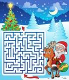 Labyrinthe 3 avec Santa Claus et des cerfs communs Photo libre de droits