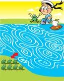 Labyrinthe avec un garçon et des grenouilles illustration de vecteur