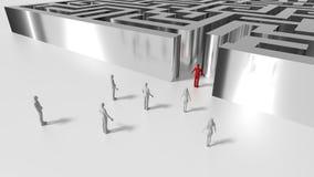 Labyrinthe brillant en métal avec des personnes devant l'entrée et le mâle illustration stock