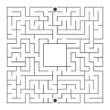 Labyrinthe carré abstrait Un jeu intéressant pour des enfants et des adolescents Illustration plate simple de vecteur d'isolement image stock