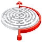 Labyrinthe 3D évité rouge de vecteur rond Images libres de droits