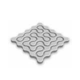 Labyrinthe 3D fermé Metal le labyrinthe abstrait avec l'ombre laissée tomber d'isolement sur le fond blanc Logotype d'entreprise  Photo stock