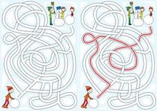Labyrinthe de bonhomme de neige illustration libre de droits