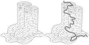 Labyrinthe de bottes en caoutchouc Photos libres de droits