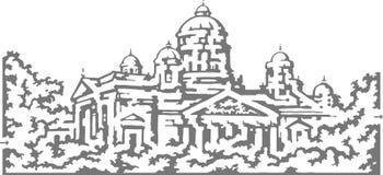 Labyrinthe de cathédrale de vecteur Photographie stock libre de droits