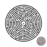 Labyrinthe de cercle d'évasion avec l'entrée et la sortie puzzle de labyrinthe de jeu de vecteur avec la solution Numérique 01 Images libres de droits
