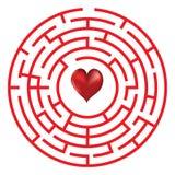 Labyrinthe de concept d'amour avec le coeur Images libres de droits