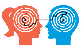 Labyrinthe de couples dans les têtes Images stock