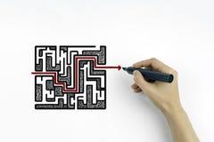 Labyrinthe de dessin de main sur un fond blanc Photo stock