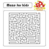 Labyrinthe de place noire avec l'entrée et la sortie Avec un champignon mignon de bande dessinée Illustration plate simple de vec photo stock