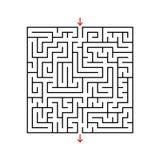 Labyrinthe de place noire avec l'entrée et la sortie Un jeu pour des enfants et des adultes Illustration plate simple de vecteur  photographie stock