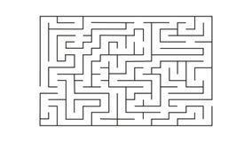 Labyrinthe de rectangle avec l'entrée et la sortie puzzle de labyrinthe de jeu de vecteur avec la solution Image stock