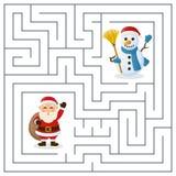 Labyrinthe de Santa Claus et de bonhomme de neige pour des enfants Photographie stock