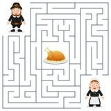 Labyrinthe de thanksgiving pour des enfants - pèlerins Photos libres de droits