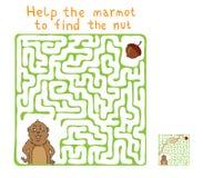 Labyrinthe de vecteur, labyrinthe avec Marmot et écrou Image libre de droits