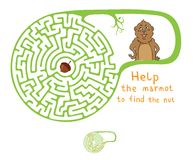Labyrinthe de vecteur, labyrinthe avec Marmot et écrou Images stock