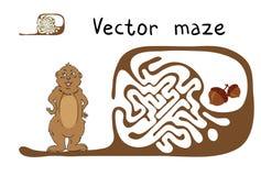 Labyrinthe de vecteur, labyrinthe avec Marmot et écrou Photographie stock