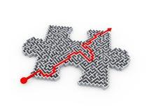 labyrinthe denteux de labyrinthe de morceau de puzzle résolu par 3d Photographie stock libre de droits
