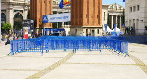 Labyrinthe des barrières dans la plaza de l'Espagne photo stock