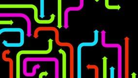 Labyrinthe des flèches varicolored sur le fond noir, 2d illustration Images stock