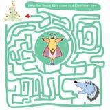 Labyrinthe drôle Aidez les jeunes garçons Images stock