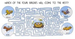 Labyrinthe drôle avec des oiseaux Photographie stock