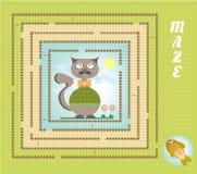Labyrinthe drôle, labyrinthe - chat de hippie, poisson d'or Photo stock