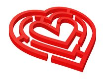 Labyrinthe en forme de coeur illustration de vecteur