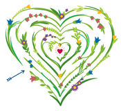 Labyrinthe en forme de coeur avec les éléments floraux Photo stock