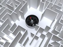 Labyrinthe et compas Image stock