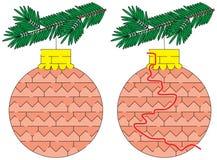 Labyrinthe facile d'ornement de Noël Image libre de droits