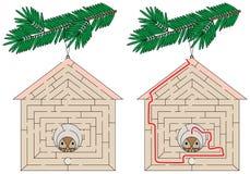 Labyrinthe facile de maison d'oiseau illustration de vecteur
