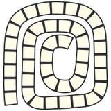 Labyrinthe futuriste abstrait, calibre en spirale de modèle pour des jeux du ` s d'enfants, découpe noire de places blanches d'is Photo libre de droits