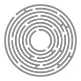 Labyrinthe futuriste abstrait, cercles gris sur le blanc Photos libres de droits