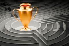 Labyrinthe intérieur de labyrinthe de récompense de tasse de trophée d'or rendu 3d Photos libres de droits