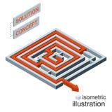 Labyrinthe isométrique, concept de solution de labyrinthe Photos stock