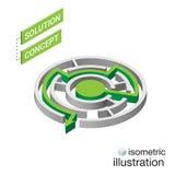 Labyrinthe isométrique, concept de solution de labyrinthe Illustration de vecteur Images libres de droits