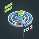 Labyrinthe isométrique de vecteur, concept de solution de labyrinthe Images libres de droits
