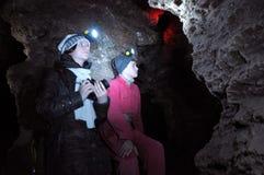 Labyrinthe Mlynky_5 de caverne de gypse Photographie stock