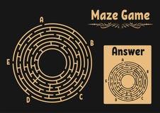 Labyrinthe rond abstrait Jeu pour des gosses Puzzle pour des enfants Énigme de labyrinthe Illustration plate de vecteur d'isoleme illustration libre de droits