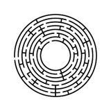Labyrinthe rond Un jeu intéressant et utile pour des enfants et des adultes Illustration plate simple de vecteur d'isolement sur  Image libre de droits