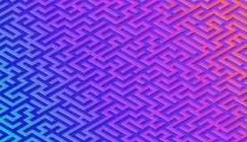 Labyrinthmuster-Zusammenfassungshintergrund mit vibrierendem Labyrinth f?r Plakat oder Tapete lizenzfreie abbildung