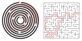 Labyrinths, circular and square labyrinth. Out of the labyrinth. Flat design,  illustration Royalty Free Stock Photography