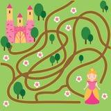 Labyrinthspiel: Märchenthema Hilfsprinzessin-Entdeckungshaus stock abbildung