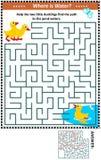 Labyrinthspiel mit Entlein und Teich lizenzfreie abbildung