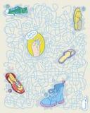 Labyrinthspiel mit Schuhen Lizenzfreie Stockfotografie