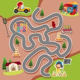 Labyrinthspielschablone mit Kind im Rennwagen stock abbildung