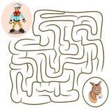 Labyrintlek: cowboy och häst som färgar sidan för ungar stock illustrationer